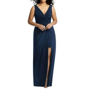 Jenny Packham Sleeveless Faux Wrap Maxi Navy Dress